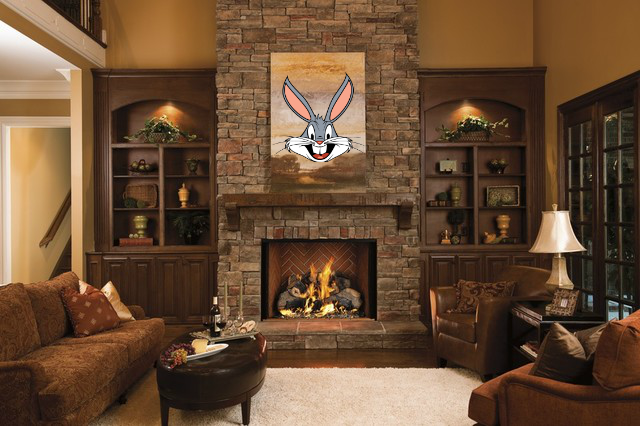 buggs bunny trophy fireplace