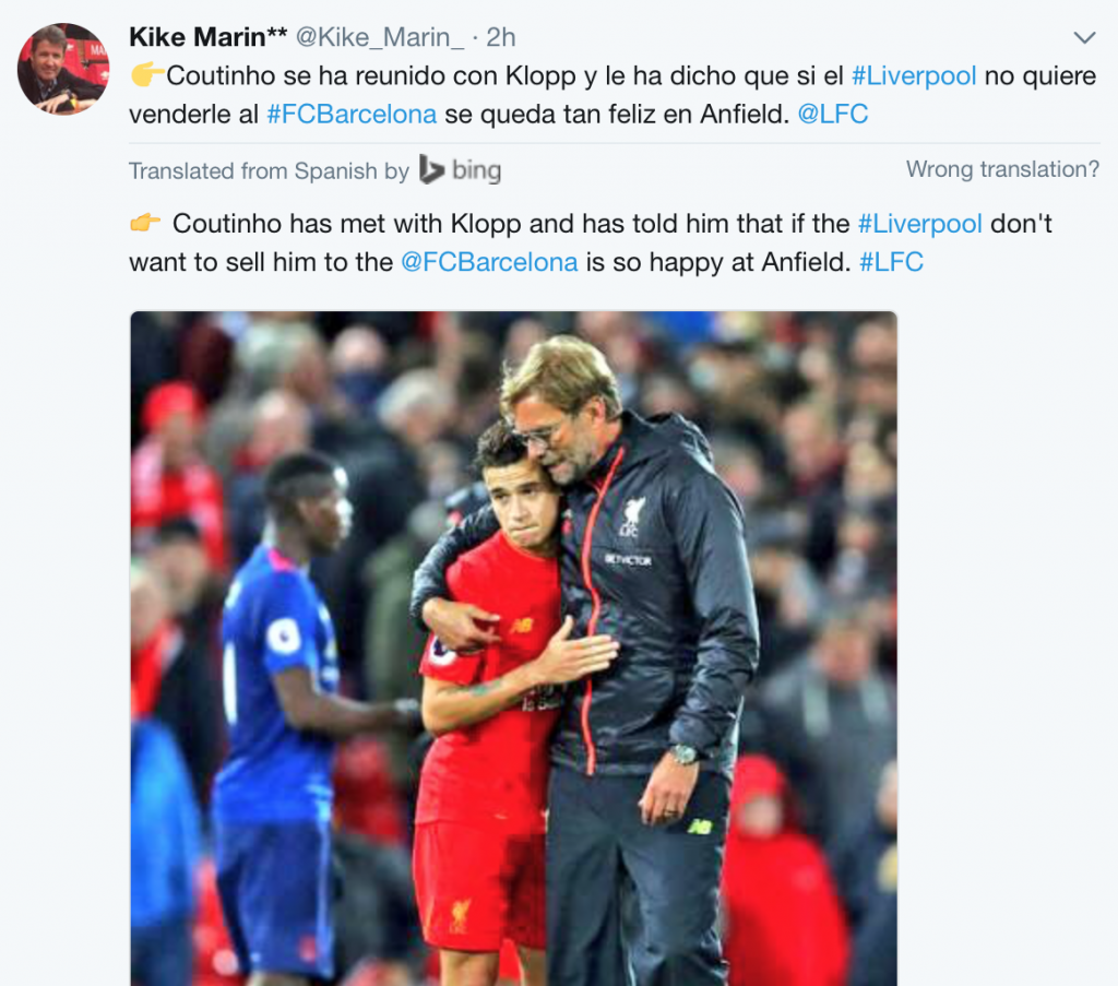 Spanish Journalist Kiké Marin reports Coutinho's acceptance to stay at the club.