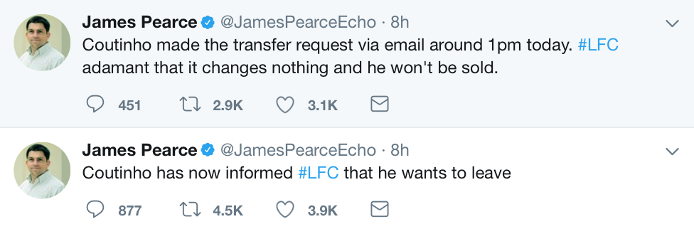 Coutinho hands in transfer request
