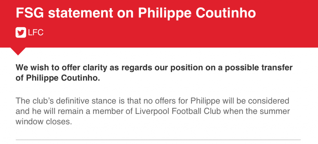 FSG's official statement on Coutinho's future.