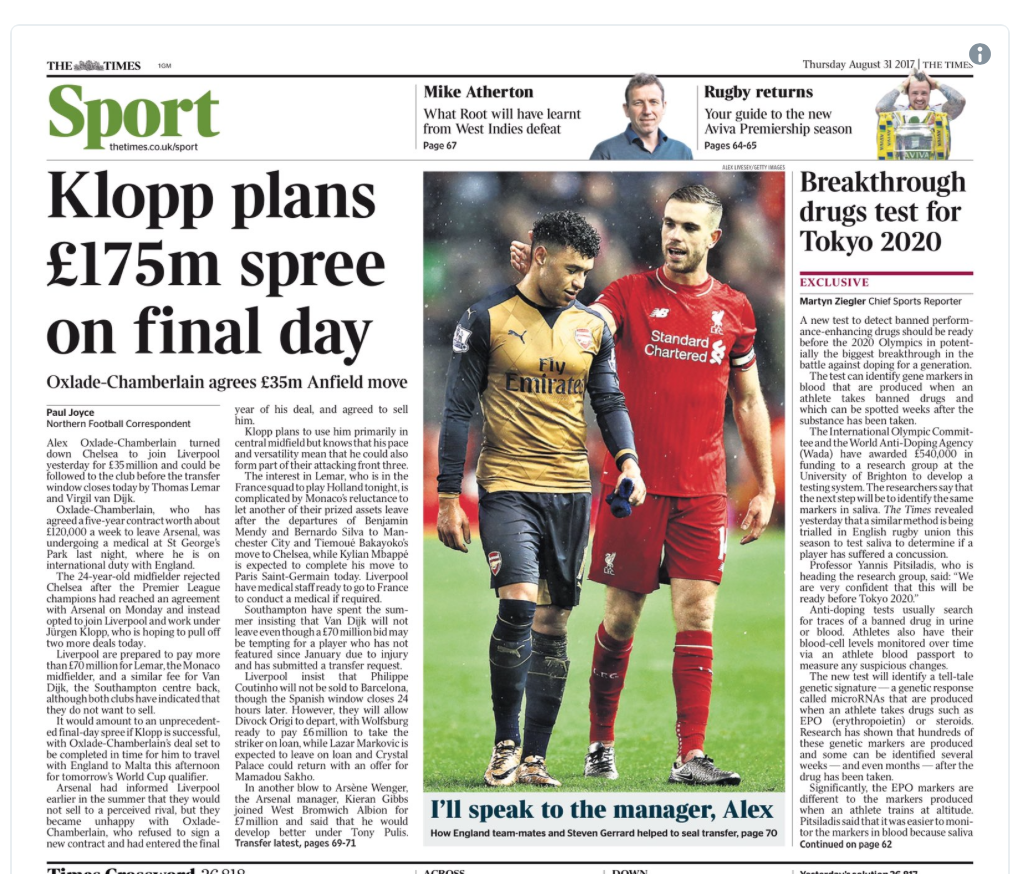 The article declaring the £175m war chest that was ready to blow everyone away on deadline day.