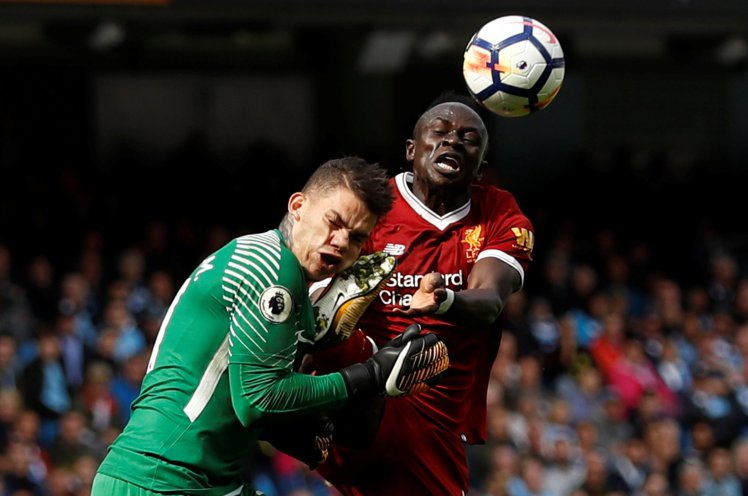 The moment that changed the game; Sadio Mané's collision with City's Ederson resulted in a red card card for dangerous play.