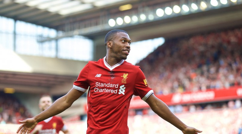 LIVERPOOL, ENGLAND - Sunday, August 27, 2017: Liverpool's Daniel Sturridge celebrates scoring the fourth goal during the FA Premier League match between Liverpool and Arsenal at Anfield. (Pic by David Rawcliffe/Propaganda)