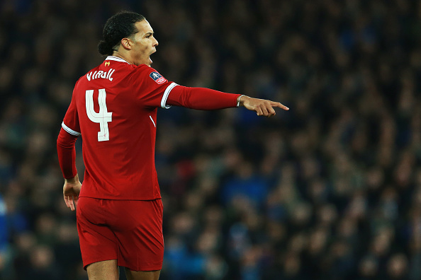 LIVERPOOL, ENGLAND - JANUARY 05: Virgil van Dijk of Liverpooll during The Emirates FA Cup Third Round between Liverpool and Everton at Anfield on January 5, 2018 in Liverpool, England. (Photo by James Williamson - AMA/Getty Images)