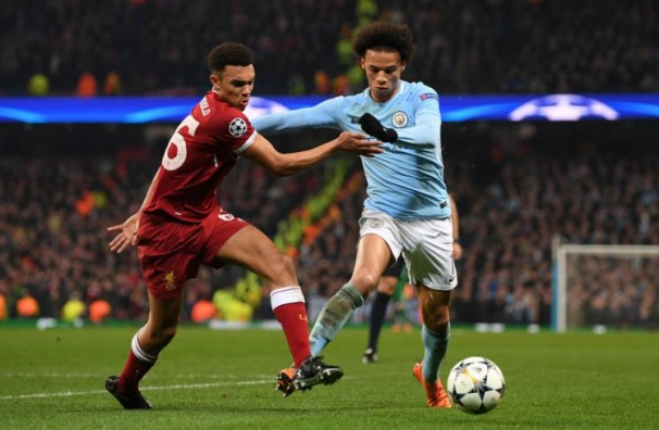 during the UEFA Champions League Quarter Final Second Leg match between Manchester City and Liverpool at Etihad Stadium on April 10, 2018 in Manchester, England.